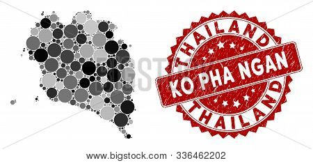 Mosaic Ko Pha Ngan Map And Circle Stamp. Flat Vector Ko Pha Ngan Map Mosaic Of Randomized Circle Ite