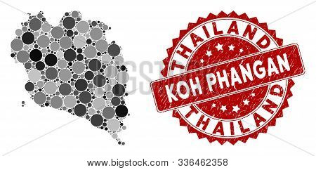 Mosaic Koh Phangan Thai Island Map And Round Rubber Print. Flat Vector Koh Phangan Thai Island Map M