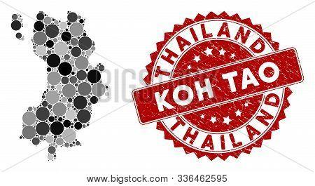 Mosaic Koh Tao Thai Island Map And Round Rubber Print. Flat Vector Koh Tao Thai Island Map Mosaic Of