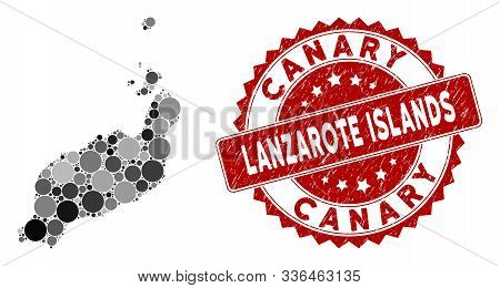 Mosaic Lanzarote Islands Map And Circle Seal Stamp. Flat Vector Lanzarote Islands Map Mosaic Of Scat