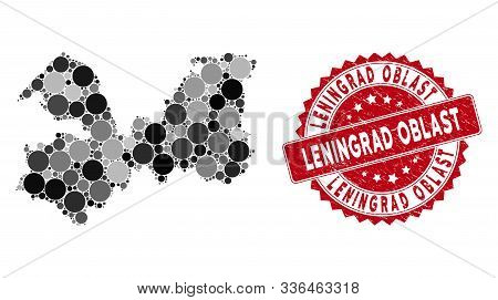 Mosaic Leningrad Oblast Map And Round Rubber Print. Flat Vector Leningrad Oblast Map Mosaic Of Scatt