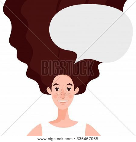 Happy Young Woman Who Succeeds With Chat, Dialogue Speech Bubble. The Concept Of A Job Well Done.