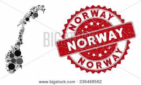 Mosaic Norway Map And Circle Seal Stamp. Flat Vector Norway Map Mosaic Of Random Circle Elements. Re