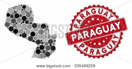 Mosaic Paraguay Map And Circle Rubber Print. Flat Vector Paraguay Map Mosaic Of Randomized Circle It