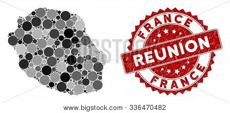 Mosaic Reunion Island Map And Round Seal Stamp. Flat Vector Reunion Island Map Mosaic Of Scattered S