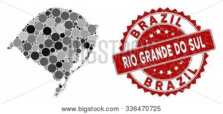 Mosaic Rio Grande Do Sul State Map And Round Seal. Flat Vector Rio Grande Do Sul State Map Mosaic Of