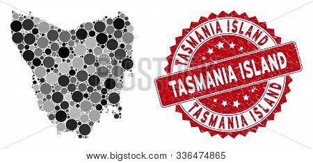Mosaic Tasmania Island Map And Round Seal Stamp. Flat Vector Tasmania Island Map Mosaic Of Random Ro