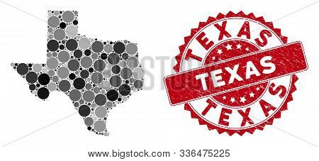 Mosaic Texas Map And Circle Stamp. Flat Vector Texas Map Mosaic Of Scattered Circle Elements. Red St