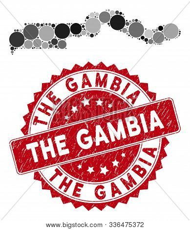 Mosaic the Gambia map and circle seal. Flat vector the Gambia map mosaic of scattered round elements. Red seal stamp with corroded design. Designed for political and patriotic agitation. poster