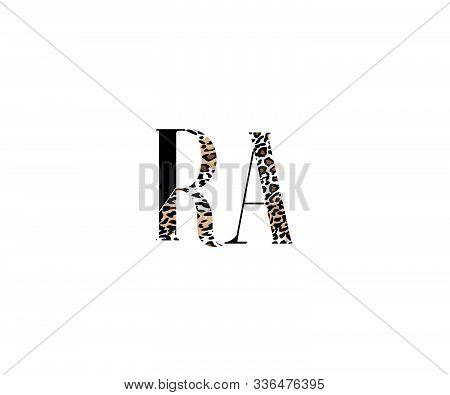 Initial Raletter With Luxury Leopard Pattern Logotype