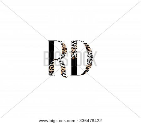 Initial Rd Letter With Luxury Leopard Pattern Logotype