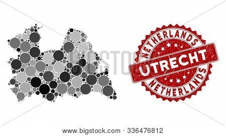 Mosaic Utrecht Province Map And Circle Seal. Flat Vector Utrecht Province Map Mosaic Of Randomized C