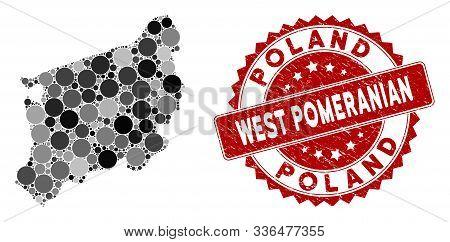 Mosaic West Pomeranian Voivodeship Map And Circle Seal. Flat Vector West Pomeranian Voivodeship Map