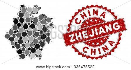 Mosaic Zhejiang Province Map And Circle Seal Stamp. Flat Vector Zhejiang Province Map Mosaic Of Rand