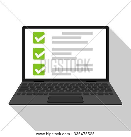 Computer Laptop With Online Quiz Form Checklist On Screen. Online Checklist On Laptop Display. Illus