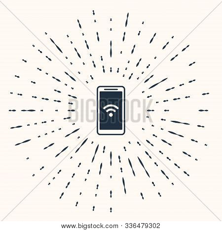 Grey Smartphone With Free Wi-fi Wireless Connection Icon Isolated On Beige Background. Wireless Tech