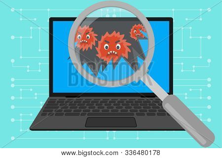 Virus Computer Destroying Laptop. Magnify Glass Found Virus On Laptop. Problem With Laptop. Virus At