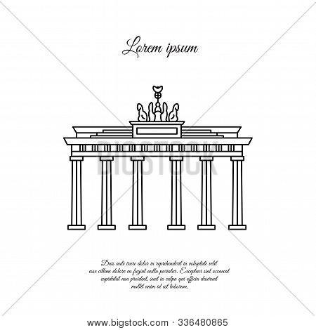 Brandenburg Gate Vector Black. Brandenburg Gate Line Icon. Brandenburg Gate Sign. Brandenburg Gate S