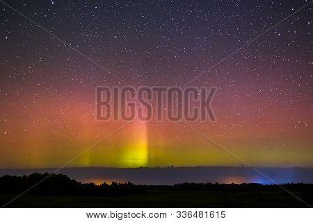 Colorful Pillars Of Northern Lighs, Or Aurora Borealis