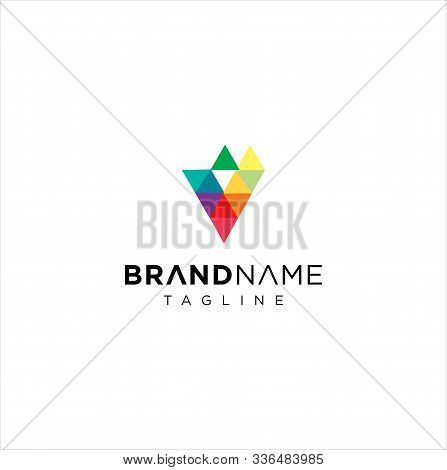 Letter V Logo Pixel Triangle Geometric Colorful / Abstract Letter V Colorful Logo