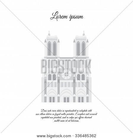 Notre Dame De Paris Gray Vector. Travel Vector Banner Or Logo. The Famous Cathedral Of Notre Dame De