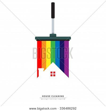 Vector Of Squeegee Scraping Colorful Rainbow Over Roof Of House. Home Cleaning Service Business Bann