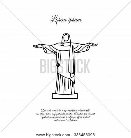 Novomoskovsk, Ukraine - March 11, 2019: Statue Of Christ The Redeemer In Rio De Janeiro Vector Line