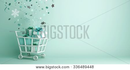 Winter Sale, Happy New Year 2020 Background, Trolley Cart, Gift Box, Snow Icon Confetti, 3d Renderin