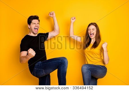 Photo Of Rejoicing Funky Funny Emotional Excited Ecstatic People Wearing Jeans Denim Expressing Craz