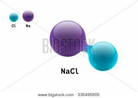Chemistry Model Salt Molecule Diatomic Sodium Chlorine Nacl Scientific Element Formula. Integrated P