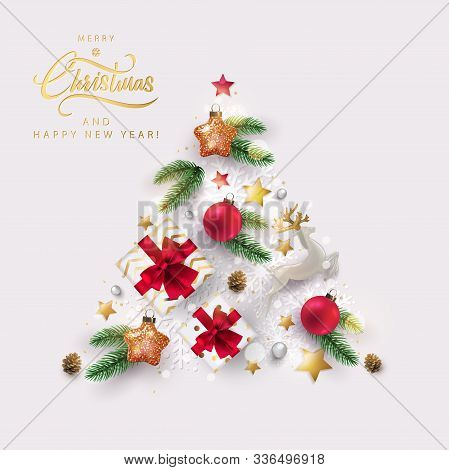 Merry Christmas Design With Christmas Tree Made Of Realistic Festive Elements - Christmas Toys, Real