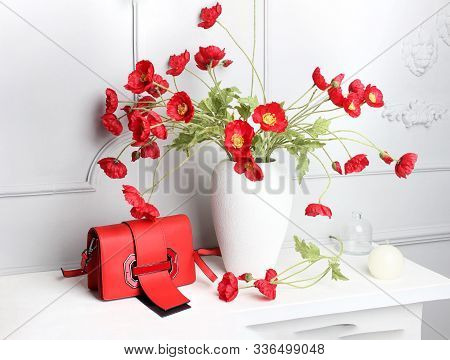 Red Bargain Sale Shopping Paper Bags With Red Poppy.image Of Bargain Sale On Spring.