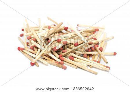 Unused Match Sticks Isolated On White Background.