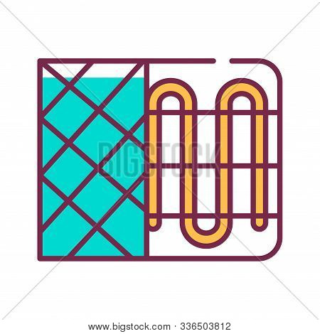 Heater Color Line Icon. Device For Supplying Heat, For Example A Radiator Or A Convector. Pictogram