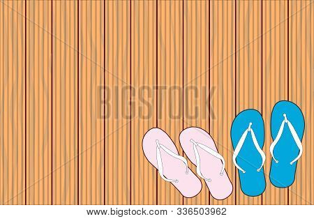 A Background Of Several Strips Of Wooden Grooved Decking With 2 Pair Of Flip Flop Sandals
