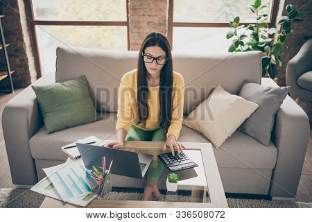 Top Above High Angle Photo Of Focused Girl Financier Work At Home Sit Divan Use Computer Calculator