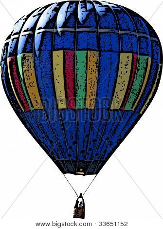Blue Hot Air Balloon Illustration