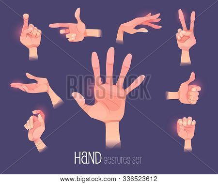 Hand Gestures Set. Human Palm Open And Close Gesturing Positions Point Direction, Show Thumb Up, Vic
