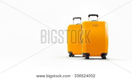 3d travel suitcase on hite background