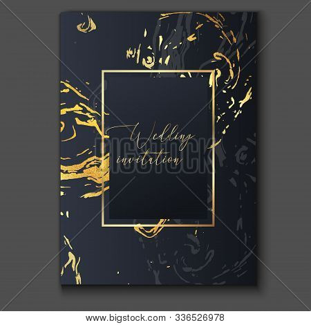 Gold, Black And Grey Marble Invitation Template. Trendy Realistic Pattern, Graphic Poster, Geometric