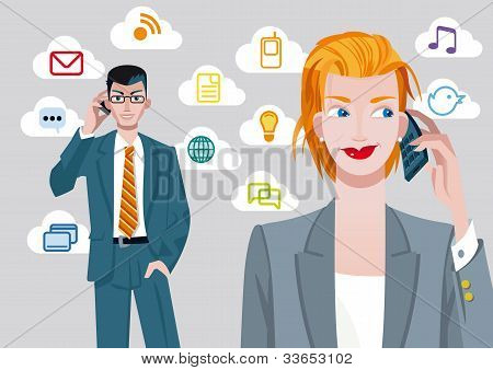 Businesswoman And Businessman On Cellphones