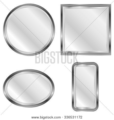 Mirror, A Set Of Mirrors. Realistic Mirror. Vector Illustration