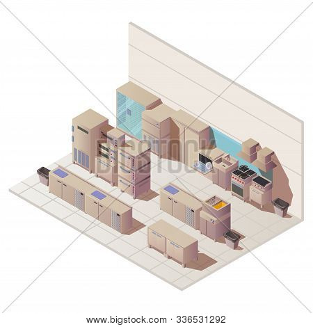 Empty Isometric Interior Of Restaurant Kitchen. Vector Flat Illustration With Sink, Fridge And Other