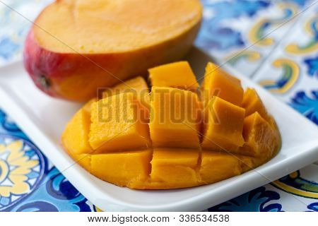 Fresh Ripe Mango Fruit, New Harvest On Plantations Of Mango Trees In Tropical Coast Near Malaga, And