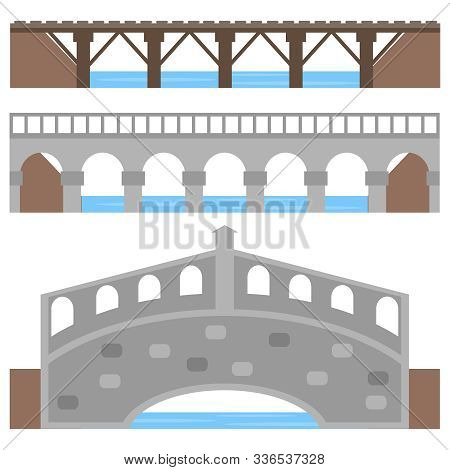 Bridge, A Collection Of Diverse Bridges Over The River. Cartoon Illustration Of A Bridge.