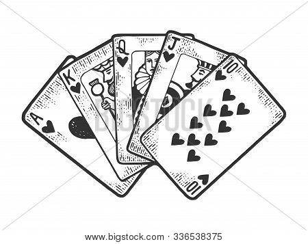 Poker Royal Flush Winning Combination Of Cards Sketch Engraving Vector Illustration. T-shirt Apparel