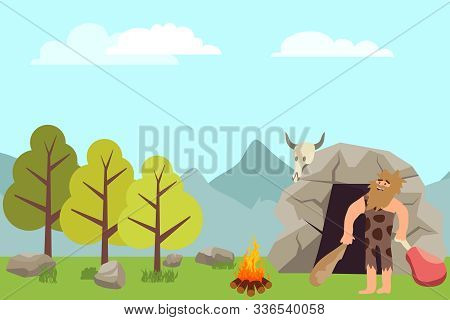 Primitive People In Stone Age Cartoon Icons. Primitive Man Cartoon Vector In Animal Pelts Eating Mea