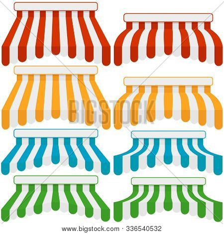 Canopy For Shop, Set Of Canopies From Fabric For Shop. Vector Illustration Of A Realistic Canopy For