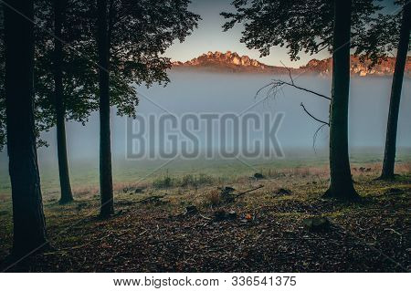 Sulov Rocks In Autumn Mist, Beautiful Nature