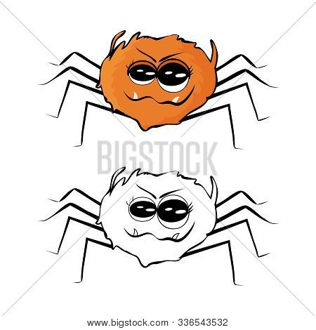 Spider Isolated On White Background.  Set Of Outline, Colored And Flat Style Spider. Funny Orange Sp